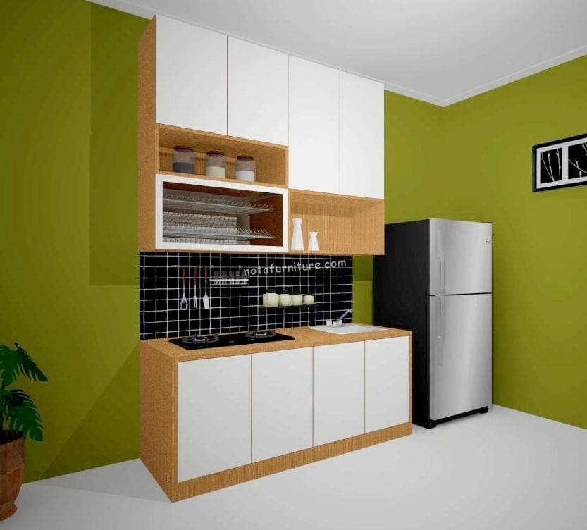 Ambalan Kayu Linear Kitchen Set Warna Putih Cream - Nota Furniture