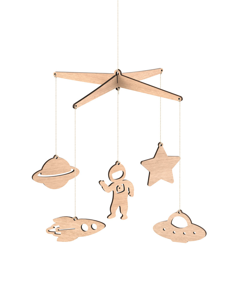 Wooden Baby Mobile Space Wooden Baby Mobile