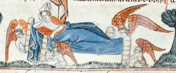 A bishop in bed. British LIbrary: Royal 10 E IV, f. 241
