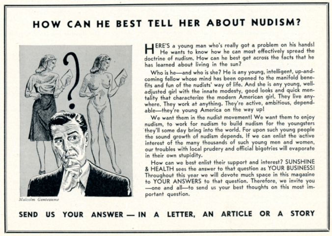 Advertisements in Sunshine and Health sought to address imbalanced gender ratios by offering men advice on how best to invite a woman to a nudist camp. Sunshine and Health, January 1949, 6. (Courtesy of the Sunshine and Health Publishing Company.)
