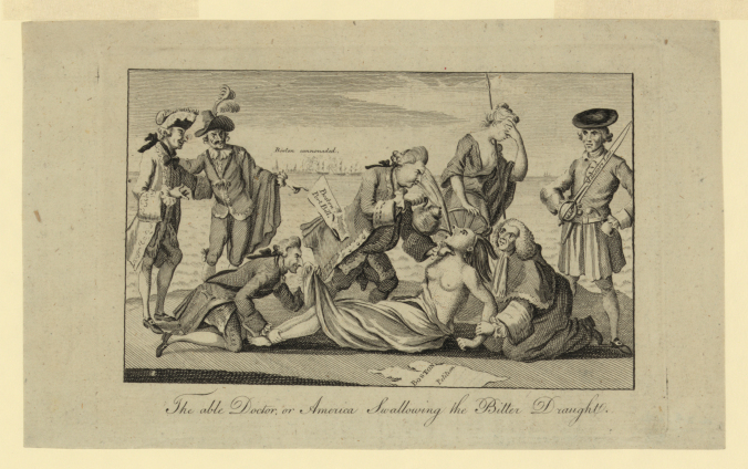 "This 1774 London cartoon, ""The able doctor, or, America swallowing the bitter draught,"" shows the British prime minister forcing tea down the throat of America, who is depicted as a half-naked Indian woman, while other British Cabinet members forcibly restrain her. Library of Congress Prints and Photographs Division."