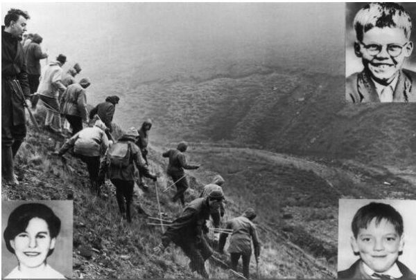 Searchers on Saddleworth Moor look for the bodies of Keith Bennett (top right), John Kilbride (bottom right) and Pauline Reade (bottom left). (Getty)