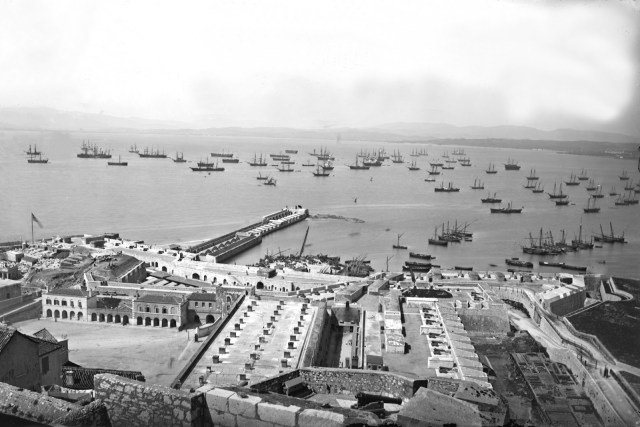 Gibraltar c.1880, photograph by George Washington Wilson (1823-1893): built within the harbour walls, the convict prison closed in 1875.