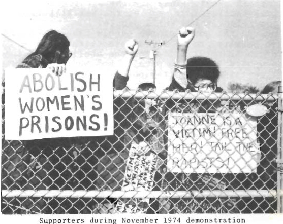 "Feminists protest at North Carolina Correctional Institution for Women, November 1974 (""Break the Chains of Legalized U.S. Slavery"")."