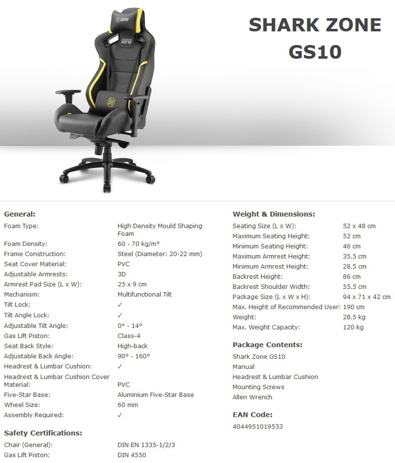 Gaming Sessel Echtleder Sharkoon Shark Zone Gs10: Gaming-sessel Für 300 Euro