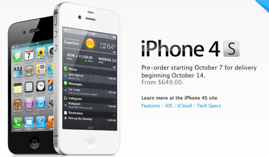 iPhone 4S off contract pricing revealed