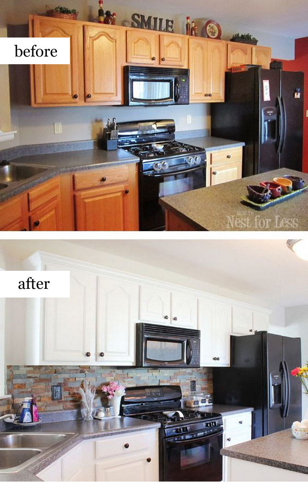 Modern Crown Molding Pretty Before And After Kitchen Makeovers - Noted List