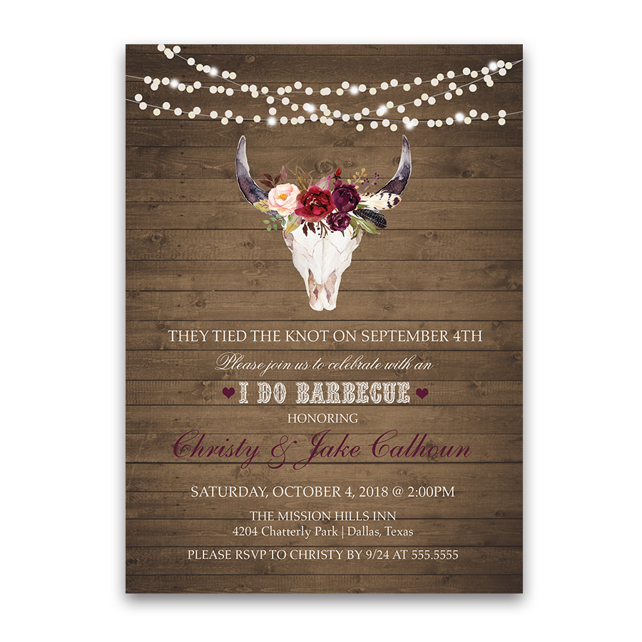 reception only invitaitons reception only wedding invitations I DO BBQ Wedding Reception Only Floral Deer Skull