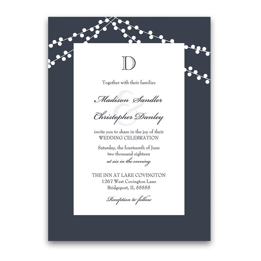 Fabulous One Wedding Invitations Shutterfly One Wedding Invitations All Monogram Navy Blue Wedding Invitations Rustic String Lights All wedding invitation All In One Wedding Invitations