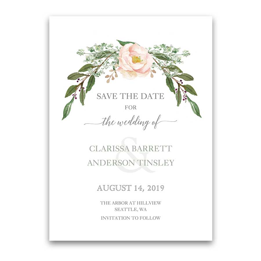 Wedding Save The Dates Watercolor Floral Greenery
