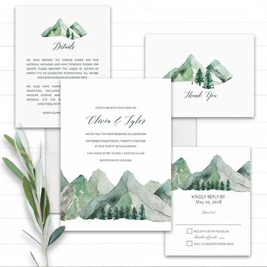 Mountain Wedding Invitation Watercolor Mountain Template