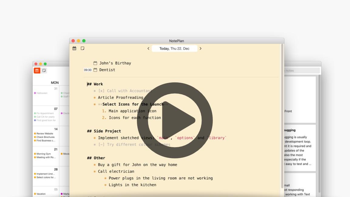 NotePlan - Markdown Calendar  Notes