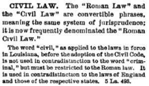 Law Dictionary definition of Civil Law