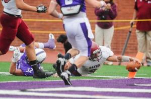 Matt Cannone, downed at the two here, and the triple option had little success against the Amherst defense.