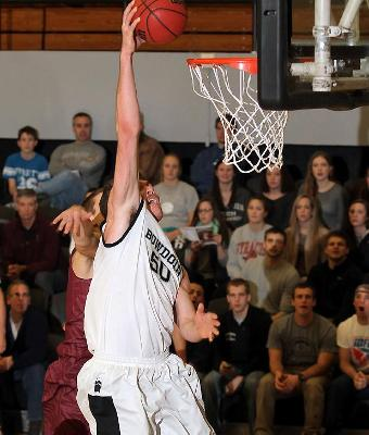 John Swords '15 was the only player for either side in double figures in last year's game against Trinity.  The big man had 11 points, six boards and four blocks in the Bowdoin win. (Courtesy of Bowdoin Athletics)