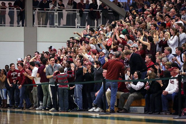 NESCAC fans were great all season, and kept up the devotion all the way through this Sweet 16 game between Bates and Trinity at Babson College. (Courtesy of Mark Box/Bates College Athletics)