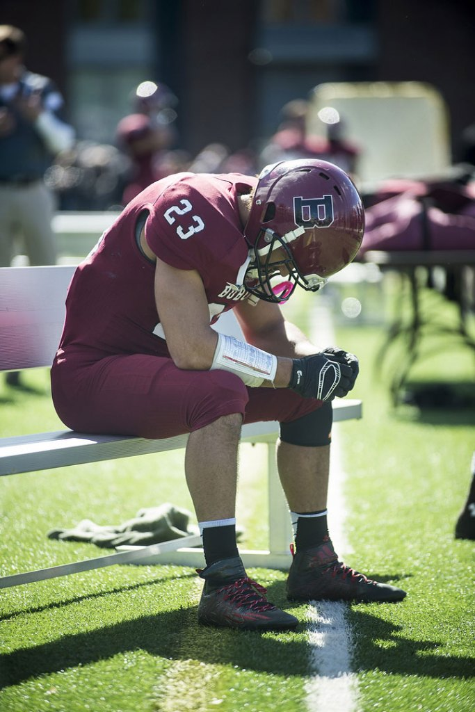 Another week, another loss - this one a heartbreaker - for slotback Shaun Carroll '16 and the Bobcats. (Courtesy of Josh Kuckens and Bates College)