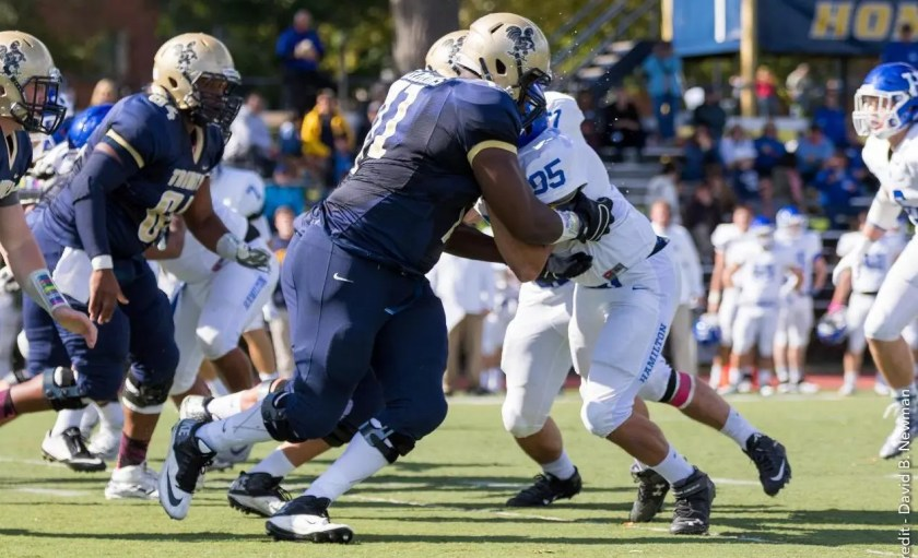 If Trinity's offensive line can create space, Max Chipouras '19 should run all over opposing defenses (Courtesy of Trinity Athletics).