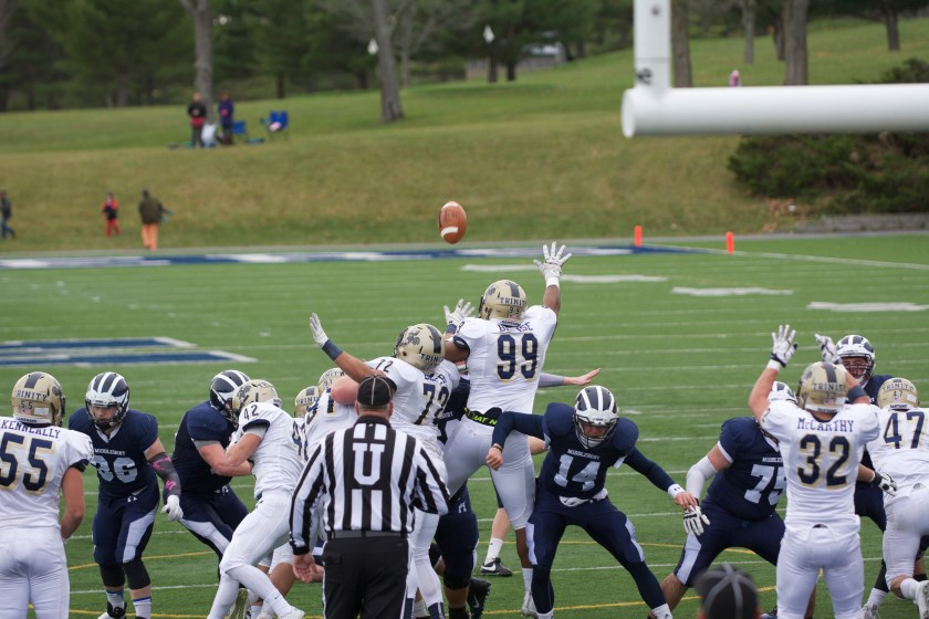 The Trinity special teams will try its best to interrupt K Charlie Wall '18 and Co. (Courtesy of Michael O'Hara/Middlebury Campus)
