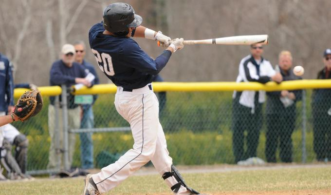 Middlebury catcher and co-captain Max Araya '16 had some kind of weekend, going 6-12 with three walks, three RBIs and his first career home run while tallying his 100th game and 100th hit in a Middlebury uniform. And he did all of this while the Panthers positioned themselves with a shot at the NESCAC Tournament for the first time since 2011. (Courtesy of Middlebury Athletics)