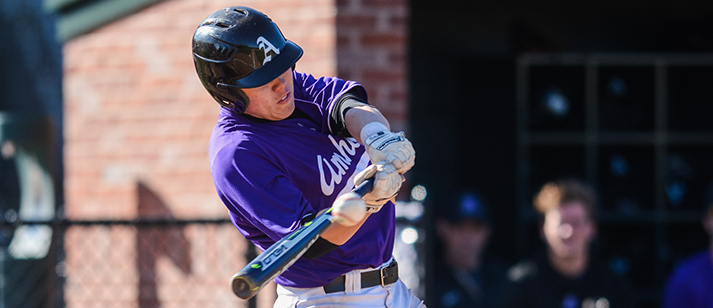 OF Ariel Kenney '18 is Amherst's top hitter with a .376/.445/.512 slash line, and helped the Purple & White clinch a playoff berth with their win in the final game of the series against Wesleyan. (Courtesy of Amherst Athletics)