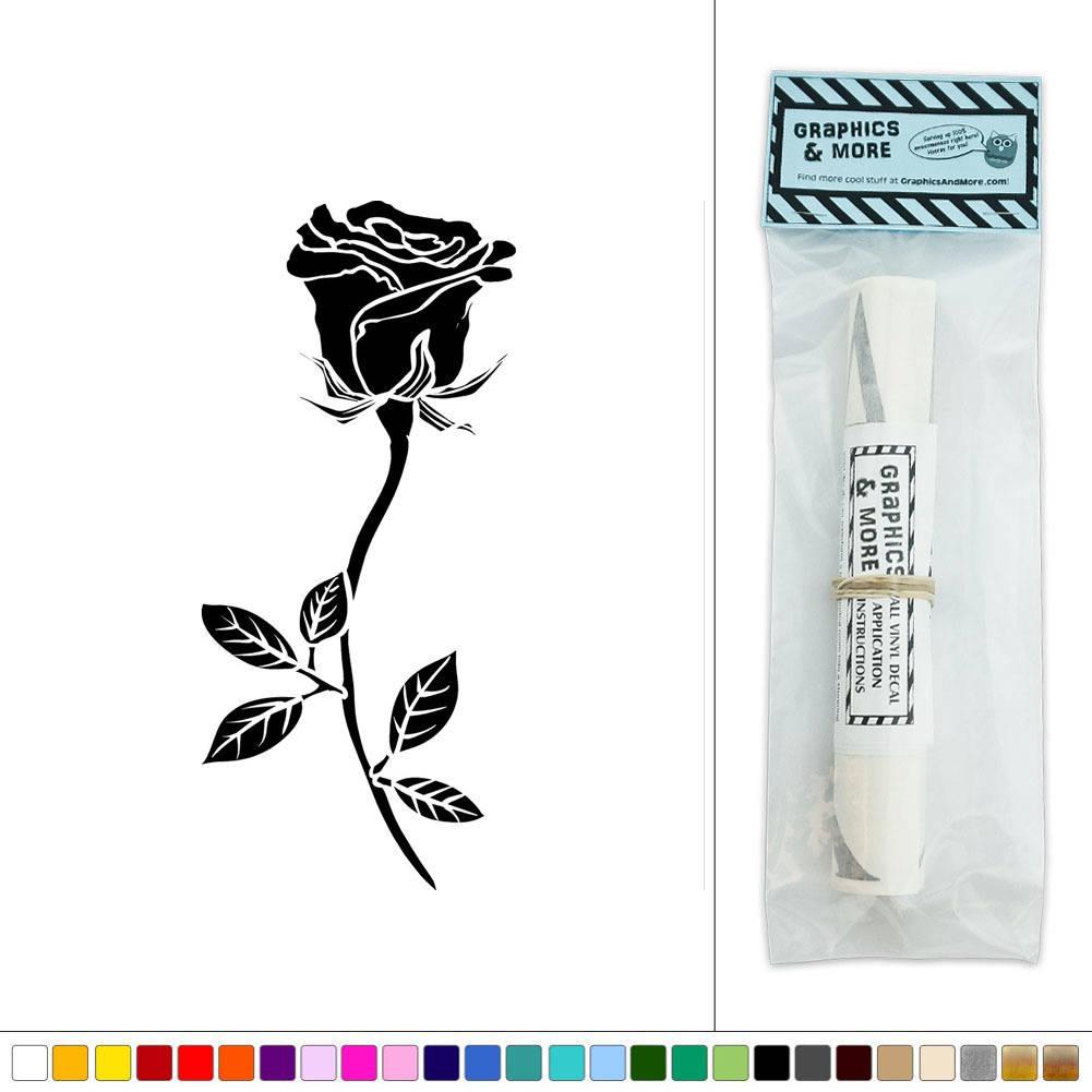 Rose Long Stemmed Flower Vinyl Sticker Decal Wall Art