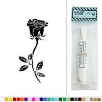 Rose Long Stemmed Flower Vinyl Sticker Decal Wall Art ...