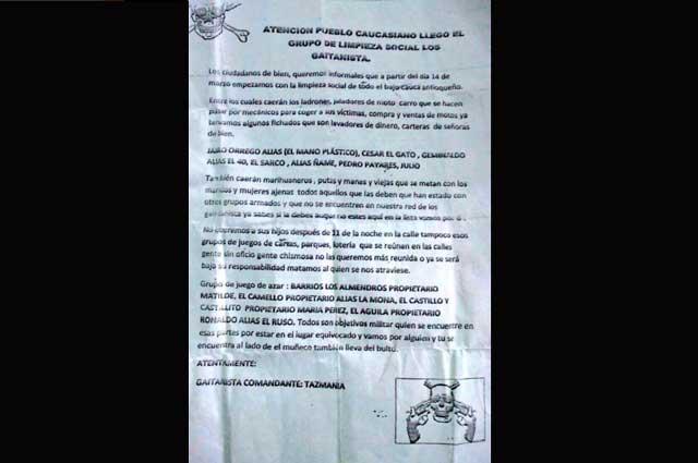 Con panfleto amenazan al Tránsito en Caucasia Noticias Caracol