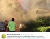 Testemunhas vêem rosto de Jesus na fumaça de um incêndio, e afirmam se tratar de um milagre