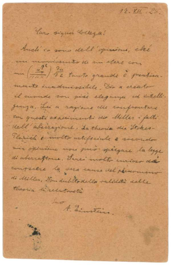carta albert einstein deus