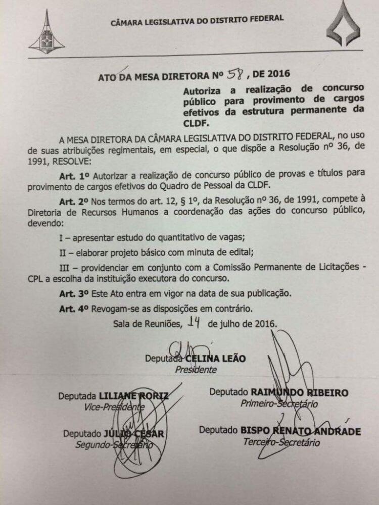 Autorização do Concurso CLDF 2016