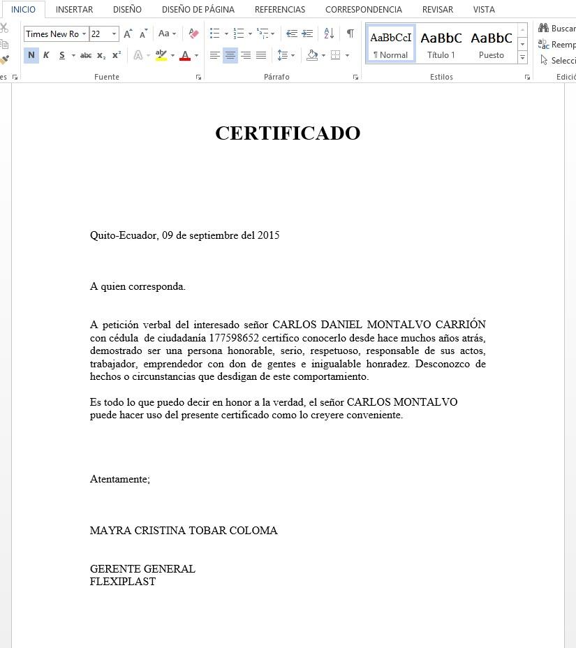 Ejemplo Certificado de Honorabilidad