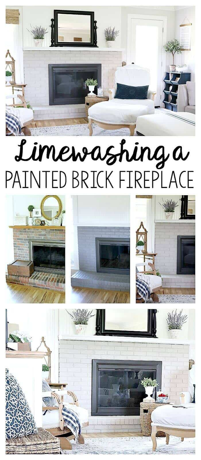 Lime Wash Brick Fireplace How To Limewash A Brick Home Noting Grace