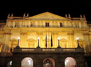 La scala by night, Milano, Italy