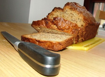 Freshly sliced Banana Bread