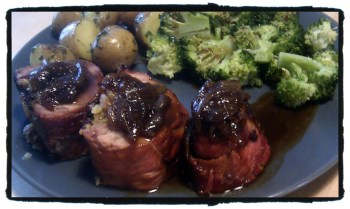Roast Stuffed and rolled pork served with onion gravy, minted potatoes and steamed brocoli
