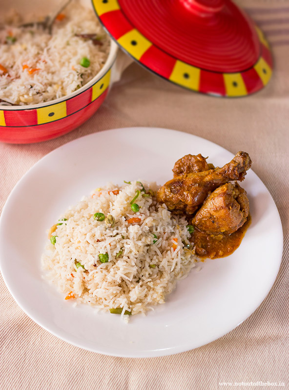 'Ghee Rice/Bengali style Veg Fried Rice'  served with Chicken Curry