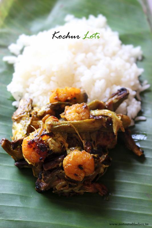 Chingri die Kochur Loti/ Fried Taro Stolons with Prawns
