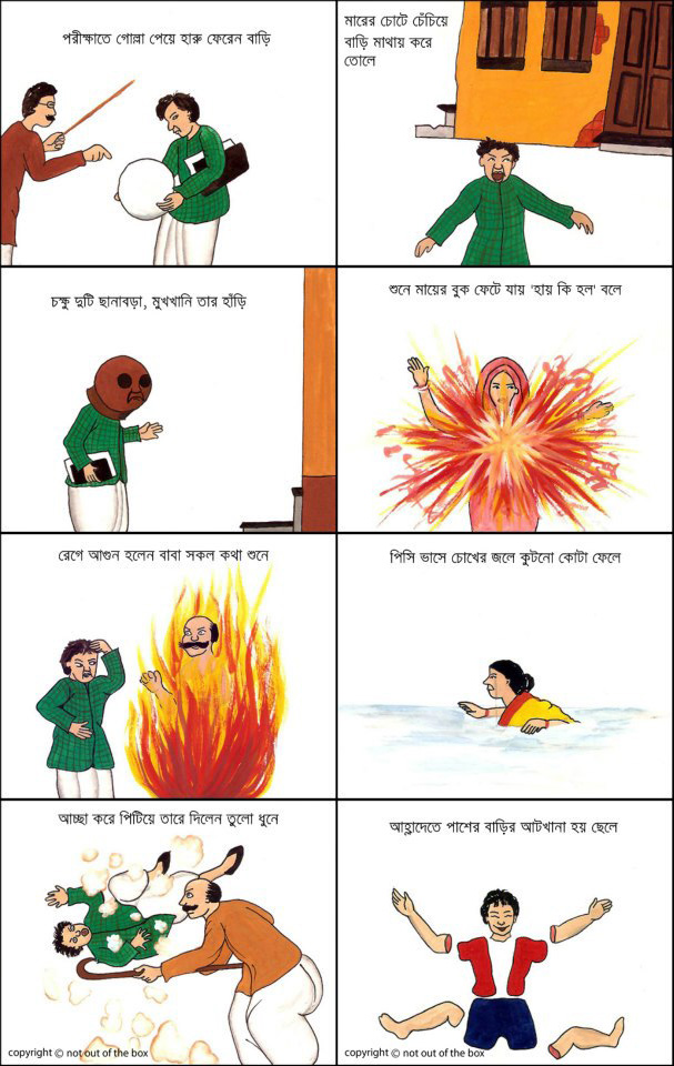 Replica of a comic strip from Legend Sukumar Ray's Book