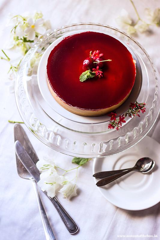 Mango Cheesecake with Cherry Jelly