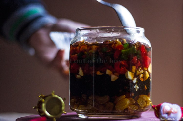 Soaking Dry fruits with Rum