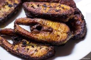 Pieces of fried Bhetki