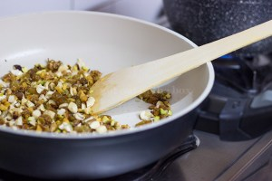 Frying dry fruits and nuts .