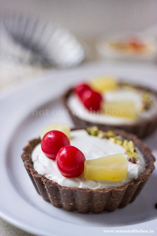 No bake Cream Cheese Tart (made with RiteBite Max Protein Nutrition Bar)