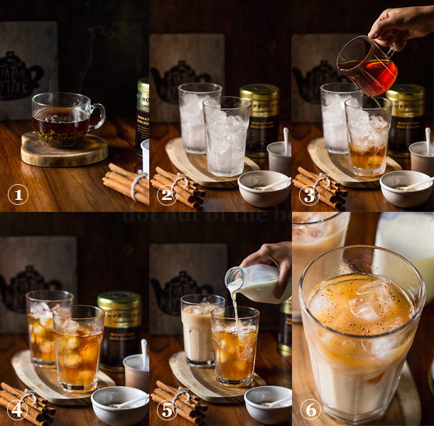 Steps of making 'Darjeeling Iced Tea Latte'