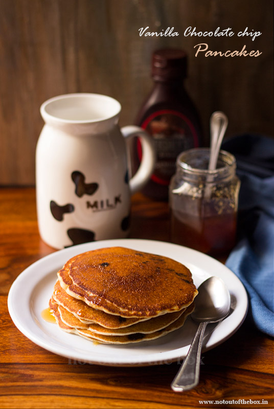Eggless Vanilla Chocolate chip Pancakes
