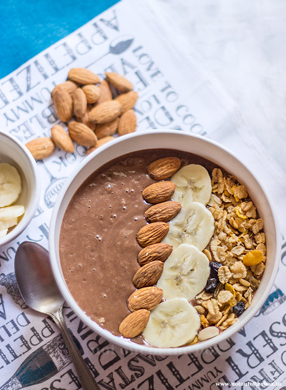 Almond Chocolate Smoothie Bowl with Cavin's Milkshake