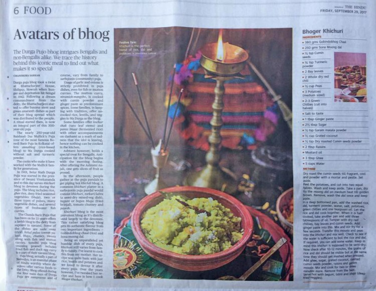 Bhoger Khichuri Article published by The Hindu