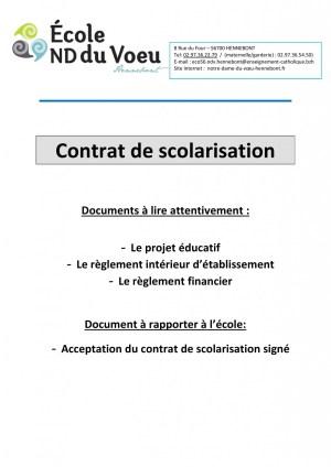 Contrat de scolarisation page information