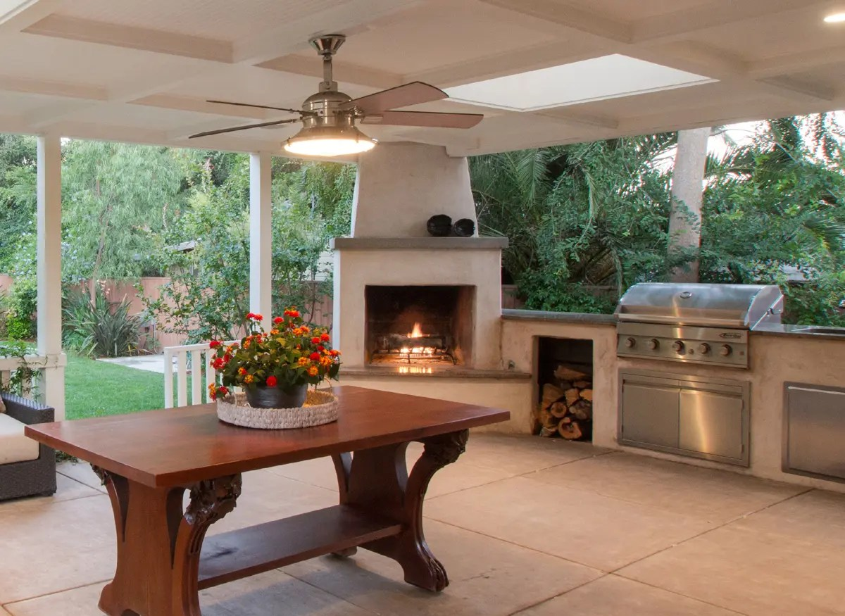 Outdoor Entertainment Area With Wood Burning Fireplace